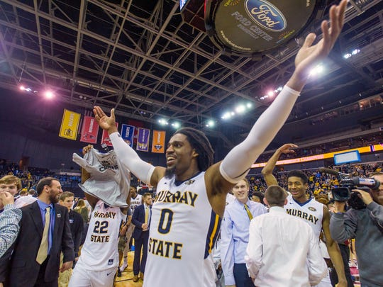 Murray State's Terrell Miller (0) gestures after his team won the OVC tourney title for an auto bid to the NCAAs.