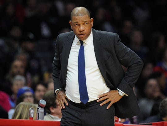 MLos Angeles Clippers head coach Doc Rivers watches