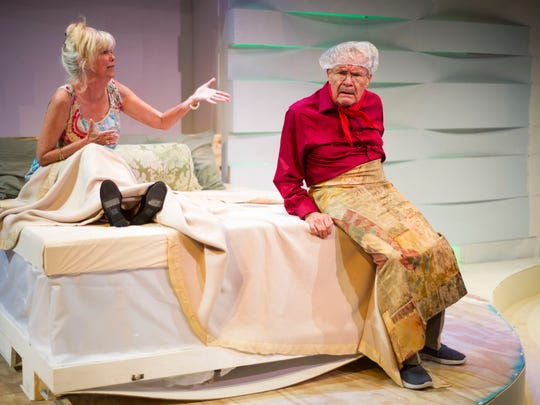 """Debi Garnett gestures towards Jerry Rannow as they run through a scene during a tech rehearsal for """"Kalamazoo"""", the upcoming Tobye Studio Theatre production of The Naples Players, at Sugden Community Theater, on Tuesday, March 20, 2018."""