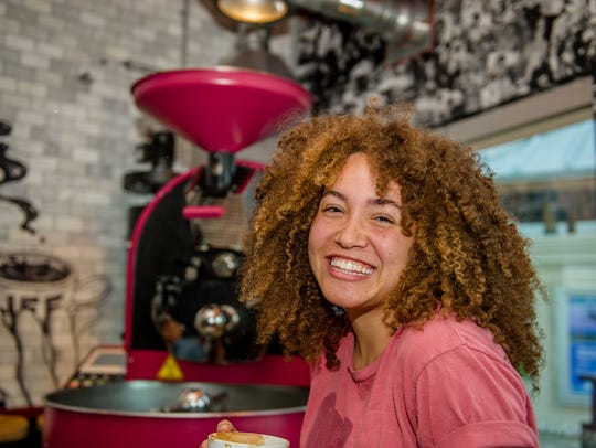 Everyone has been having fun at Subculture Coffee, at Harbourside Place in Jupiter, especially with its recent grand opening featuring free coffee, free beer and outstanding entertainment. Pictured, Sarah Miller of Port St. Lucie enjoys the Subculture Coffee opening.