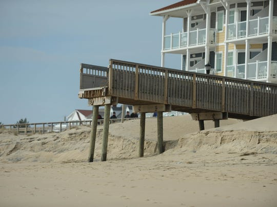 Beach erosion can be seen in Bethany Beach on Tuesday, March 27, after a nor'easter passed through.
