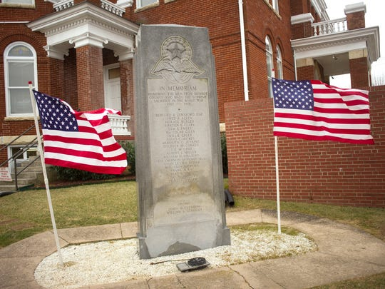 The World War I monument at the Monroe County Courthouse, pictured Thursday, Feb 6, 2014, in Madisonville, lists the names of black soldiers separately. (Paul Efird/News Sentinel)