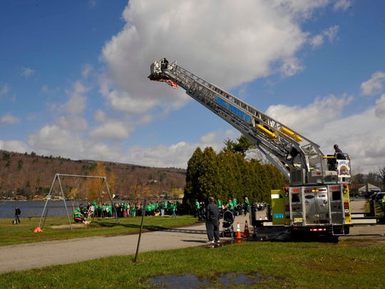 West Milford's Tower 6 fire engine positions to take