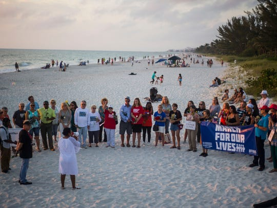 A vigil was held for Stephon Clark at Naples Pier on Sunday, April 8, 2018. Clark was an unarmed young black man who was shot in his grandmother's backyard by police in Sacramento, California on March 18.