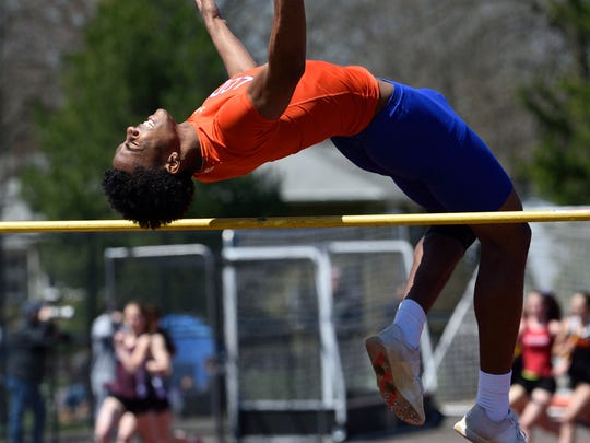 Carlos Pepin of Lodi competes in the boys high jump at the 57th annual Jack Yockers Bergen County Relays at River Dell High School.