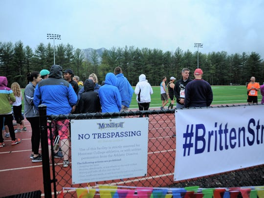 ​  The rain held off April 26 as 137 runners gathered at Montreat College's Pulliam Stadium for the second annual Britten Strong Race to Recovery 5K.   ​