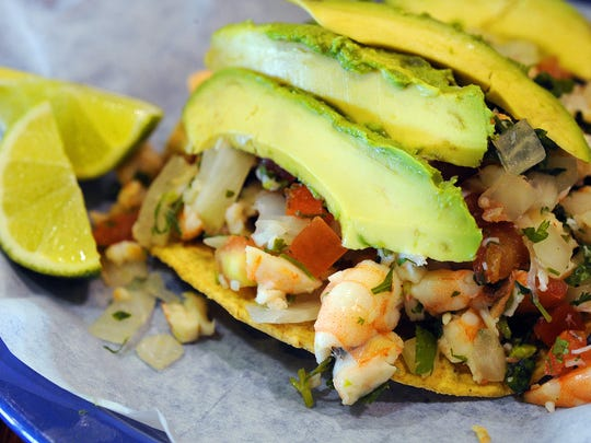 A shrimp tostada at Carniceria Guanajuato, a Mexican