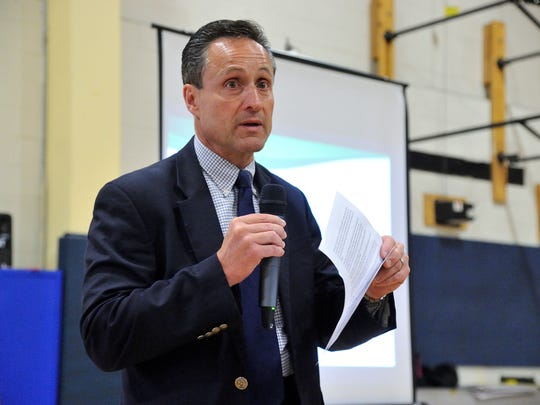 Pete Lopez, Regional Administrator for EPA Region 2, speaks to the crowd gathered at the Edgewater Community Center to discuss the EPA cleanup of the Quanta Resources Corporation site on Tuesday.