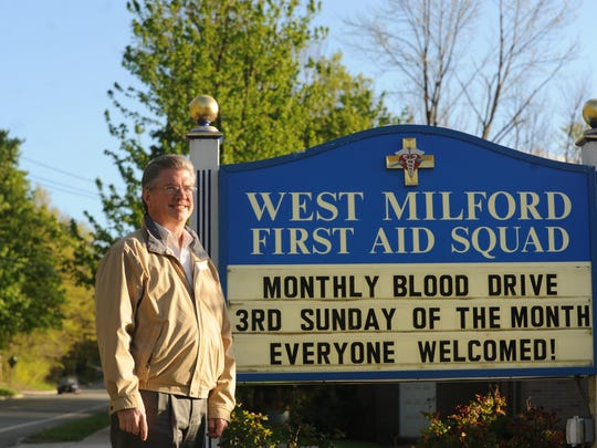 Jim Gilligan had hosted monthly blood drives for more than a decade when this photo was taken at the West Milford First Aid Squad in April 2010.