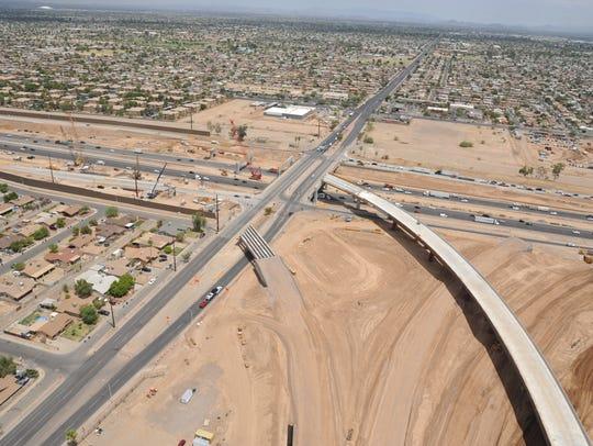 The new I-10/Loop 202 interchange near 59th Avenue