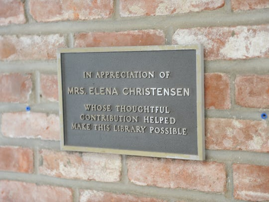 This plaque honors Elena Christensen, who helped create