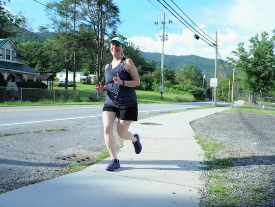 Linda Arthur participates in a Wednesday run as part
