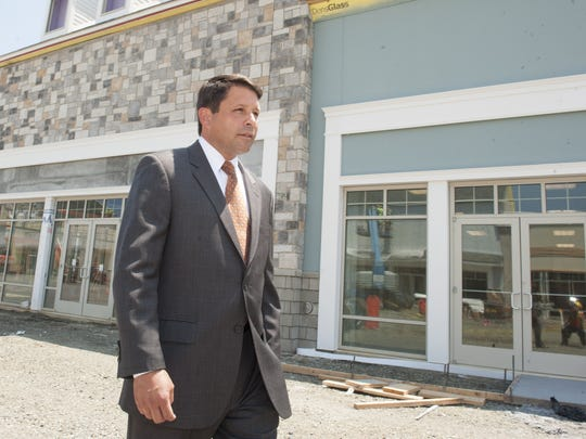Gloucester Township Mayor David Mayer tours the site of Gloucester Premium Outlets prior to its 2015 openng.