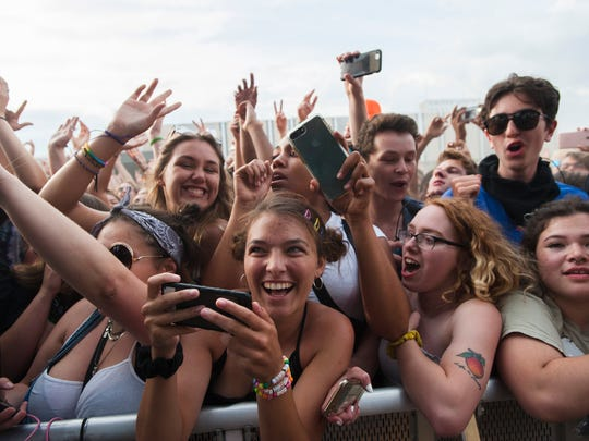 Fans go crazy over the rap group Brockhampton as they perform on day two of the Mo Pop Festival.