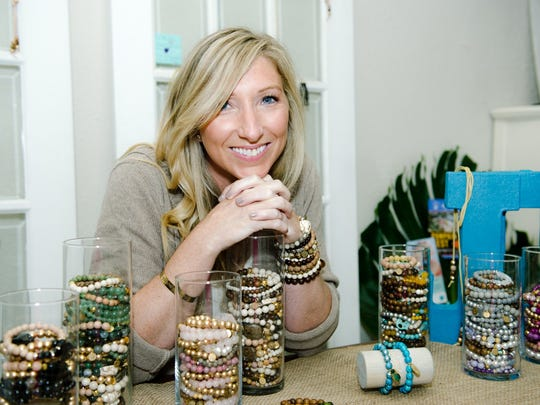 Ashley Siebrecht, with Just One More,  donates back a portion of each bracelet sale to local charities.  It's the Stack That Gives Back.