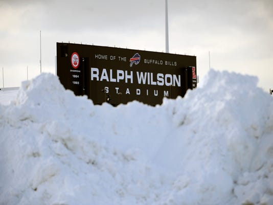 Ralph Wilson Stadium filled with snow