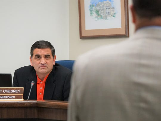 Pct. 4 Nueces County Commissioner Brent Chesney listens to a presentation from Texas General Land Office representatives during a special meeting at the county courthouse on Tuesday, Dec. 19. The meeting was meant to provide an update on the status of housing assistance for those affected by Hurricane Harvey in Nueces County.