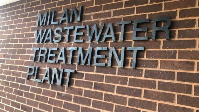 Entrance to the Wastewater Treatment Plant on Gump Lake Road, Milan.