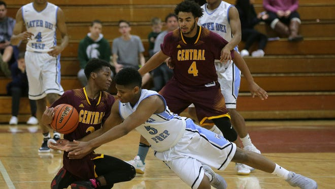 Mater Dei Prep's Elijah Mitchell and Central Regional's Zion Hardy battle for the ball during the 2016 Albert E. Martin Buc Basketball Classic at Red Bank Regional High School in Little Silver, NJ Wednesday December 28, 2016.