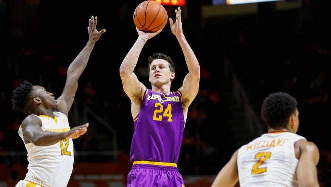 Lipscomb's Garrison Mathews, a junior from Franklin, is averaging 19.6 points per game this season.