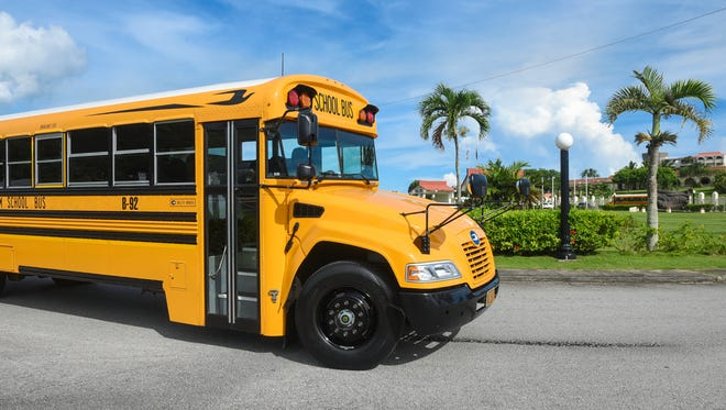 A Department of Public Works school bus is shown in this Aug. 16, 2017, file photo.