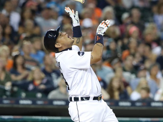 Tigers first baseman Miguel Cabrera reacts after flying