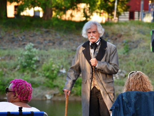A Mark Twain impersonator spoke at the first Creek Fire event of the summer at Foundry Park in downtown York.