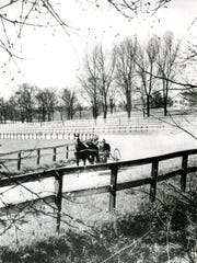 A buggy ride around the track at Sun Briar Court, about 1940.