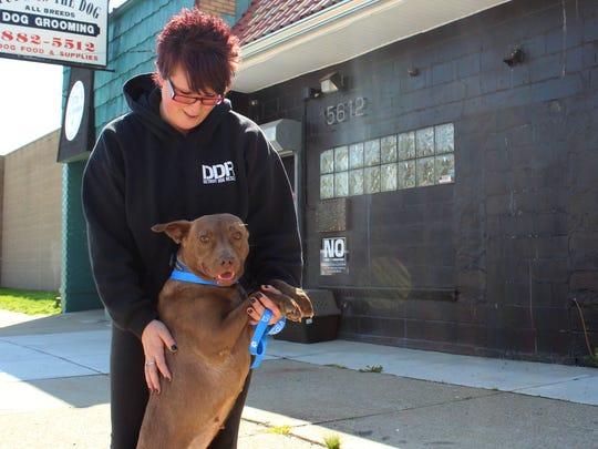 Former Detroit Dog Rescue volunteer Torey Bruler plays with Forester during his morning walk at Detroit Dog Rescue shelter.