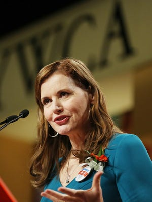 Geena Davis speaks to the YWCA of Greater Cincinnati's Career Women of Achievement Luncheon at the Duke Energy Convention Center.