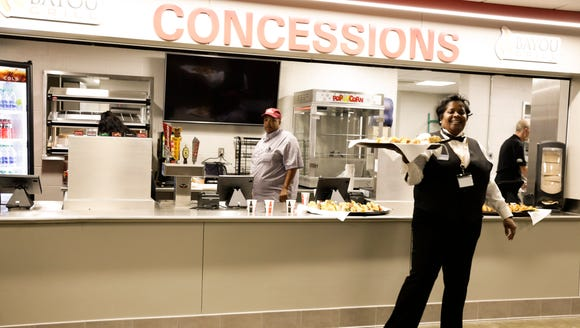 The new Bayou Grill concession stand serving food during