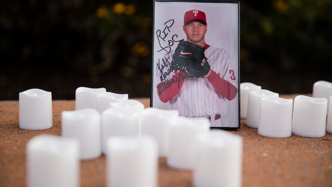 A memento is set in remembrance of former Phillies pitcher Roy Halladay outside Citizens Bank Park Wednesday.