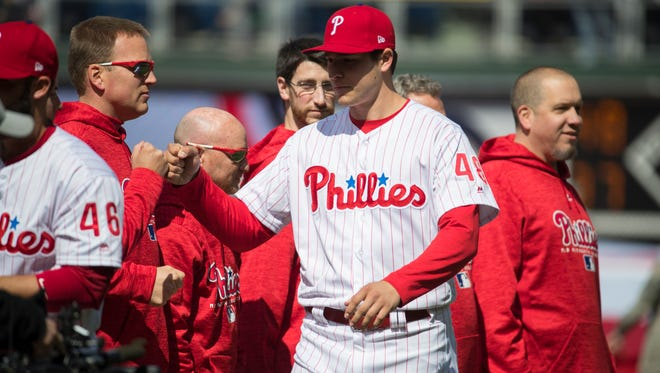 Mater Dei grad Jerad Eickhoff hopes to return to the Philadelphia Phillies' starting rotation this season after batting injuries.
