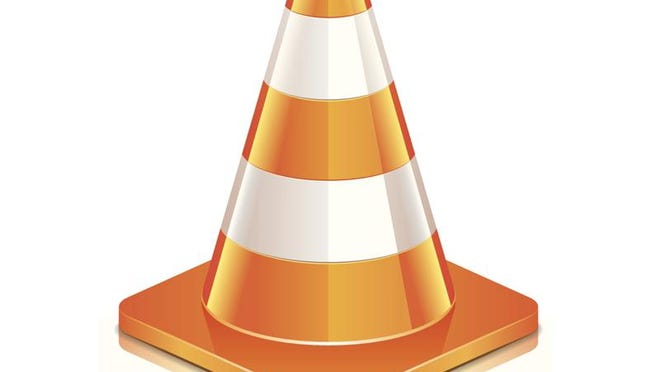 Road cone isolated on white