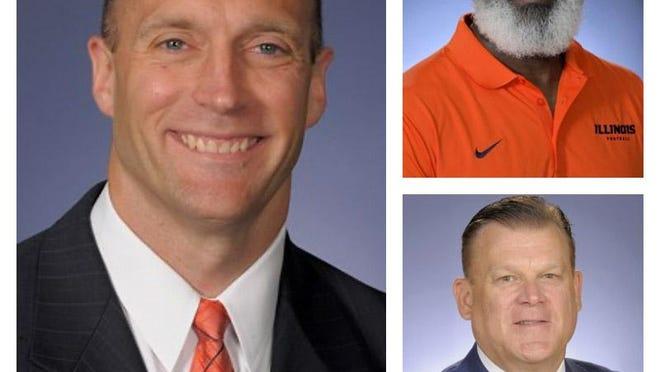 Clockwise from left, University of Illinois athletic director Josh Whitman, football coach Lovie Smith and men's basketball coach Brad Underwood.