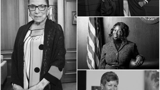 Judges Rosemary Collins, from top right, Gwyn Gulley and Janet Holmgren each said they found inspiration from Justice Ruth Bader Ginsburg, left, who died Friday at age 87.