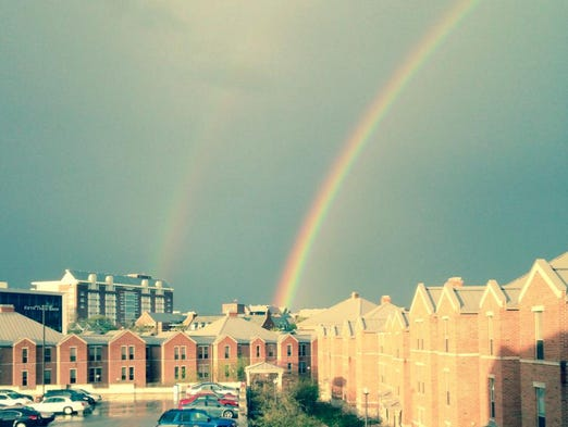 Morgann Smith of Laurel took this photo of the rainbow at IUPUI's campus apartments in Indianapolis.