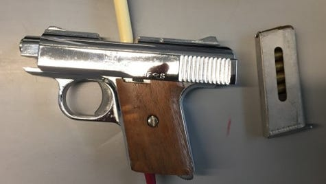 A photo of the semi-automatic pistol that Port Authority Police confiscated on Wednesday.