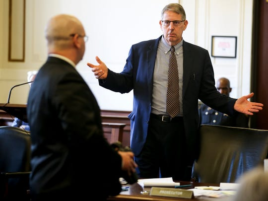 Assistant Prosecutor Seth Tieger asks UC police Officer Philip Kidd about the University of Cincinnati police department equipment on the first day of Tensing's retrial in Hamilton County Common Pleas Judge Leslie Ghiz's courtroom Thursday, June 8, 2017.