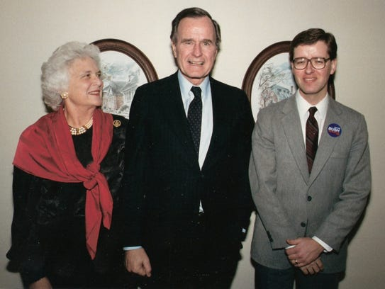 Barbara and George Bush with a young Fred Stiefel (right),