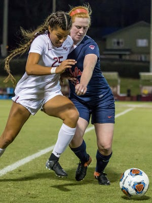 Florida State freshman defender Emily Madril (25) helps keep a clean sheet as the FSU Soccer team advances to the second round of the NCAA tournament after defeating Ole Miss by a score of 5-0 at the Seminole Soccer Complex in Tallahassee, FL on Nov. 10, 2017.