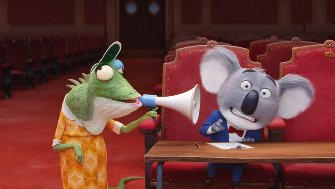 Buster (right, voiced by Matthew McConaughey) and Miss Crawly (voiced by Garth Jennings) in 'Sing.'