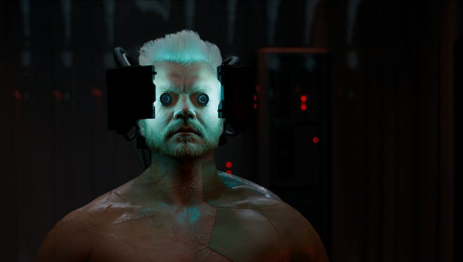 """Batou (Pilou Asbæk) fights cyber terrorism in a sprawling  metropolis in """"Ghost in the Shell."""""""