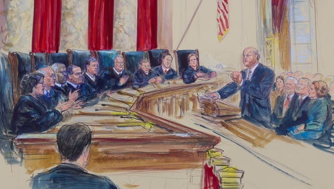 An illustration shows Michael Carvin, lead attorney for the petitioners in King v. Burwell, speaking before the Supreme Court.