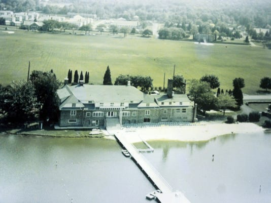 A 1950s aerial view of Fort Ritchie shows Lakeside Hall and its swimming area.