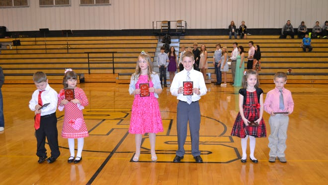 Winners of the 2015 Valentine Pageant Little Miss and Little Mister Contest are, from left, Keaton Zeigler and Kylie Bell Harber, first runners-up; Madalyn Miller and Matthew Guffey, winners, and Keely Ward and Landon McEntire, second runners-up. Zeta Omicron Chapter of Beta Sigma Phi sponsored the pageant at Salem High Schoo.