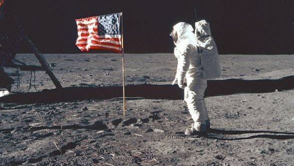 Astronaut Neil Armstrong takes the first steps on the moon on July 21, 1969, after being launched from Cape Canaveral.
