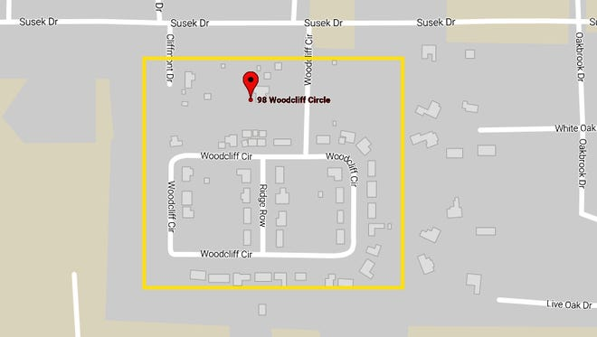 The yellow borders show Woodcliff subdivision in Pineville, where water service will be shut off beginning at 8:30 a.m. Tuesday to allow for water main repairs. A water boil advisory will be in effect after that until further notice.