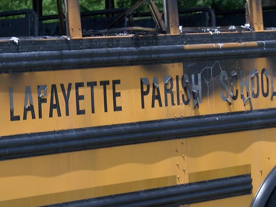 A school bus carrying 30 children caught on fire today