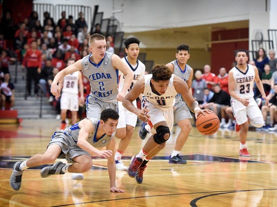The Cedars' Shaq Ortiz gets out in front of the Falcons on a fastbreak during the Lebanon win over Cedar Crest Tuesday, Feb. 7, at Lebanon High School.
